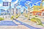 祝園(ほうその)駅前西側の歩道の風景1