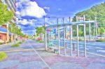 精華町役場東側バス停の風景